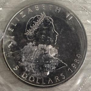 1989 Elizabeth II 5 Dollar Coin Canada 1oz Fine Silver