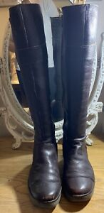 Ladies Dark Brown Soft Leather Fly London Knee High Boots - Size 6 UK