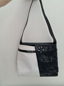 Escada Vintage Leather Black White Floral Handbag Shoulder Bag
