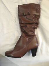 Aldo Brown Leather Pull On Heeled Mid Calf Boots Women's Size 38      7.5 to 8