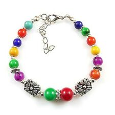 HOT Free shipping New Tibet silver multicolor jade turquoise bead bracelet S68B