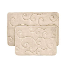 2 Piece Memory Foam Bath Mat  - Beige - Super Soft - 2 pc Non Skid
