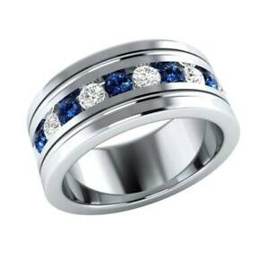 Men's 1/2 Ct Round Cut Blue Sapphire & Diamond Wedding Band 14K White Gold Over