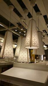IKEA Torna Pendant Lamp CEILING LIGHT Modern Chandelier WHITE w Birch Wood MCM