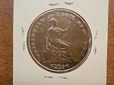 1851 Great Britain Penny Coin Queen Victoria Circulated & Cleaned