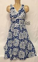 "George White Blue Yellow Floral V Neck Sleeveless Dress Size 10 18"" Chest A Line"