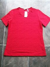 BNWT Women's Red Crinkle Polyester & Viscose Knit Short Sleeve Top Size 12