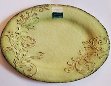 Cynthia Rowley NEW!!! SERVING TRAY PLATTER MELAMINE Floral Oval GREEN Aphorism