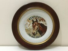 Kentucky Blue Grass State Horse Collectible Plate Wood Frame Wall Hanging