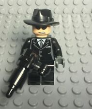 Lego New Mob / Gangster Mini Figure W/ Black Suit,fedora Hat,Cannon Shooting Gun