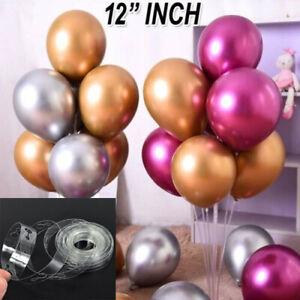 "10-100 Pack LATEX METALLIC PEARL CHROME BALLOONS 12"" inch Celebration ARCH UK"
