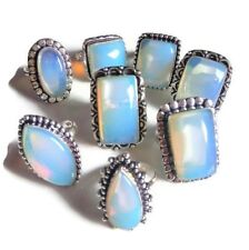 Wholesale!! Lot 20Pcs. Opalite Gemstone .925 Sterling Silver Plated Ring Jewelry