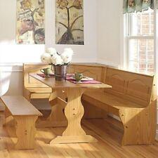 Reversible Light Honey Natural Wood Finish 3 Piece Corner Dining Table Set