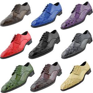 Bolano Mens Formal Tuxedo Wedding Dress Shoe Lace Up Croco Cap Toe Oxfords