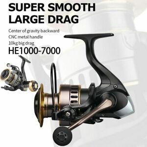 UK Fishing Reel HE1000-7000 Max Drag 10kg High Speed Metal Spool Spinning Reel