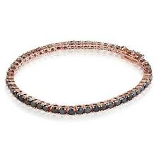 "10.00ctw Round Black Cubic Zirconia Rose Gold Plated Tennis Bracelet (7.25"")"