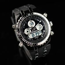 INFANTRY Mens Digital Quartz Wrist Watch Date Day Chronograph Black Rubber Sport