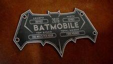 CUSTOM BATMOBILE SERIAL DATA PLATE BATMAN DAWN OF JUSTICE SUPERMAN
