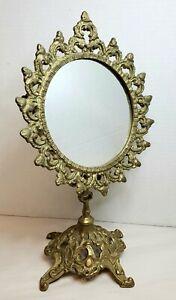 "Antique Victorian Swing Top Table Mirror Ornate 14"" High Bronze Dresser"