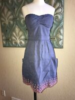 American Eagle Outfitters Dress Padded Bra Strapless Blue Coral eyelet hem 6