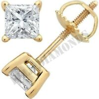 Princess 14k Yellow Gold Over 2 Ct Diamond Unisex Stud Earrings Push Back