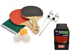 Table Tennis Ping Pong Set 2 player Includes 3 Balls Two Paddle Bats Net Outdoor