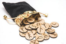 25 Wooden Rune Stone Bag set with Layout & Meaning Parchment. Futhark. Pegan