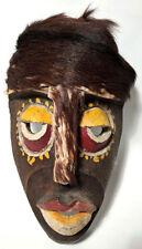 Roger Francois Wood Carved Mask Haitian Tribal Folk Art VTG Rare Large 15x8 in