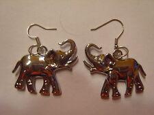 Ohrringe silberfarbenem Elefanten mit Rüssel aus Edelstahl Größe ca: 2,5 cm 1434