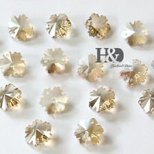 50PCS Champagne Faceted Crystal Snowflake Sun catchers Chandelier For Light