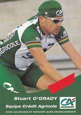 CYCLISME carte cycliste STUART O'GRADY équipe CREDIT AGRICOLE 2000