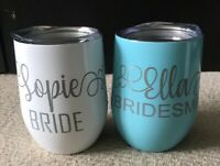 PERSONALISED ENGRAVED BRIDAL PARTY 12oz INSULATED WINE TUMBLER CUP - IDEAL GIFT