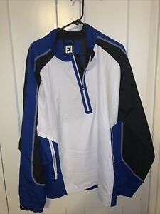 FootJoy Windbreaker Adult Medium Men White And Blue 1/2 Zip Pullover Golf Lined
