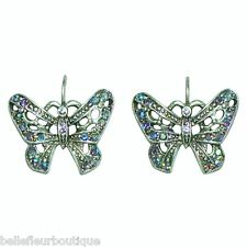 Kirks Folly Butterfly Whisper Leverback Earrings Silvertone Blue Aurora Borealis