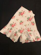 Vintage Ralph Lauren EMMA Blue Stripe Rose Floral Ruffled Pair King Pillowcases