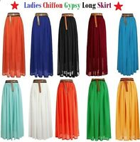 LADIES WOMENS CHIFFON GYPSY, LONG JERSEY MAXI DRESS SKIRT ELASTICATED 8 10 12 14