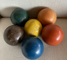 "6 Vintage 3-1/2"" Solid Color Wood Croquet Balls Blue Orange Yellow Green Brown"