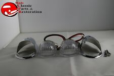Guide Style Headlight Chrome LED Turn Signal Marker Lights Housings Clear 1157