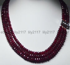 "New 17-19"" 3Rows Natural 4X6mm Faceted Red Garnet Rondelle Beads Gems Necklaces"