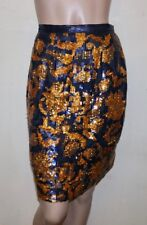 Gianfranco Ferre blue and gold sequin silk skirt 42 8