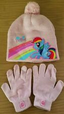 Set of Girls My Little Pony Pink Winter Beanie Hat & Gloves *Not Sure on Size