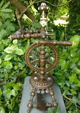 """Antique spinning wheel with turned supports and decoration 14"""" tall"""