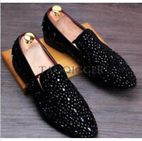 Men's Bling Slip On Casual Loafers Rhinestones Driving Club Dress Shoes Stylish