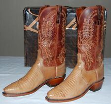 Lucchese 1883 Lizard Skin Tan Old Nugget Leather Boots Men 7.5D Handmade Exotic