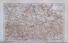 1889 Salzburg Österreich - alte Stadtplan Karte old city map