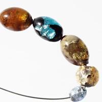 Lot (5) vintage Czech lampwork foil under yellow topaz blue overlay glass beads