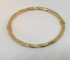 """MILOR 18K YELLOW GOLD OVAL TWIST HINGED BANGLE BRACELET OPENS FITS 6.5"""" ITALY"""