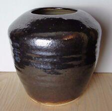 "Hand Thrown Pottery Vase.  Ribbed Deep Umber Brown. Signed ""Steve 88"""