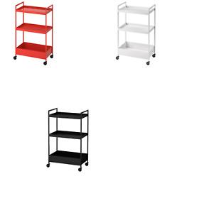 *New* NISSAFORS Trolley, Black, White & Red orange 50.5x30x83 cm  Brand IKEA
