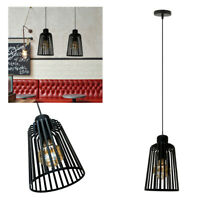 Cage Pendant Light Wire Frame Loft Ceiling Lamp Shades Vintage Industrial Metal